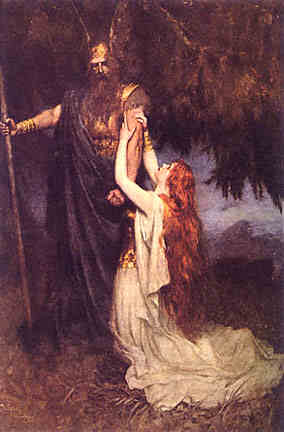 Brunhilde begs Wotan to reconsider her punishment for betraying His trust.