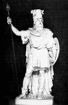 A classical style statue of Odin.