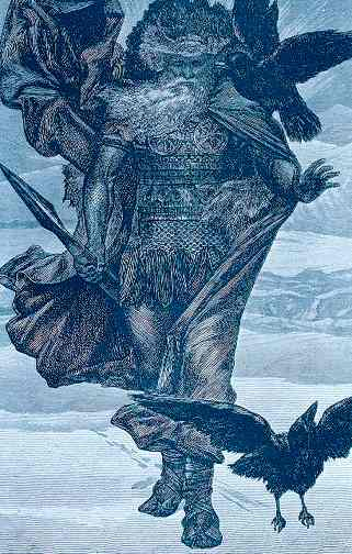 Odin with His ravens Huginn and Muninn in a frozen landscape.