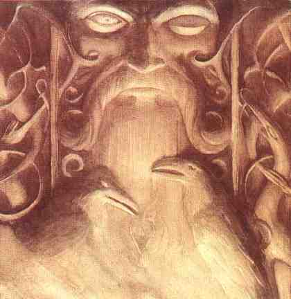 An wooden carving of Grimner (odin) with Huginn and Muninn.