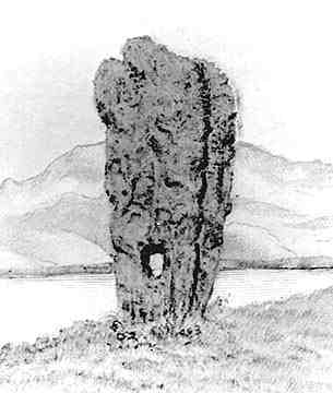 Sadly destroyed, this stone was a remnant into historical times of a local cult of Odin in the Orkneys.