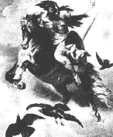 Valkyrie in flight among ravens