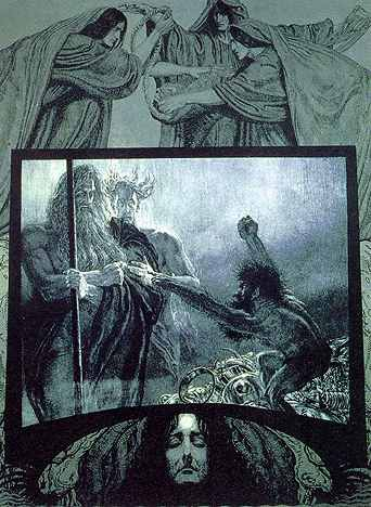 The Norns above and Erda below look on as Wotan and Loge visit Alberich.