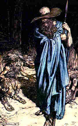 Wotan as the Wanderer at the Dwarf Regin's forge.