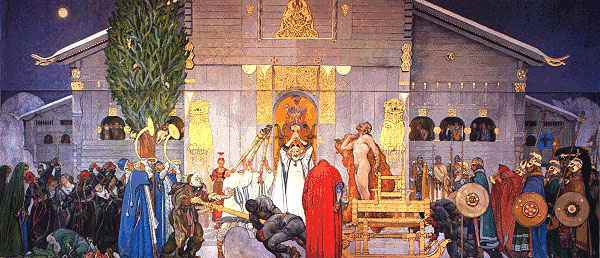 A long suppressed painting by the Swedish artist. It represents the sacrifice of  the Svea King Domalde who is sacrificed in the Uppsala Temple. The exact centre of this painting is the Thor's Hammer held up by the Godhi (priest).