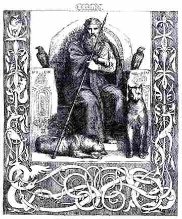 Odin enthroned with the wolves Freki and Geri, and the ravens Huginn and Muninn. He is holding his spear Gungnir.