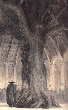 Wotan as the Wanderer leaves a sword in the tree that supports Hunding's hall.